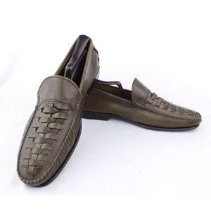 Bruno Magli Men's Dark Taupe Woven Leather Loafers